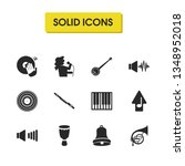 musical icons set with vinyl ...