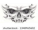 art skull tattoo. hand drawing...   Shutterstock . vector #1348965602