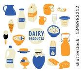 dairy products set  milk ... | Shutterstock .eps vector #1348983212