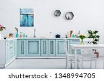 interior of turquoise and white ... | Shutterstock . vector #1348994705