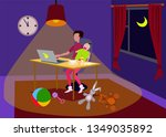a man watching social networks... | Shutterstock .eps vector #1349035892