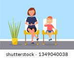 mother and son in waiting room... | Shutterstock .eps vector #1349040038