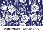 seamless pattern with poppies... | Shutterstock .eps vector #1349047772