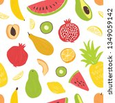 seamless pattern with exotic... | Shutterstock .eps vector #1349059142