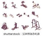 vector isometric fitness or gym ... | Shutterstock .eps vector #1349065418