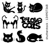 Stock vector vector silhouettes cats 134907368