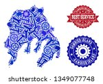 best service collage of blue... | Shutterstock .eps vector #1349077748