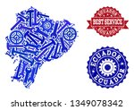 best service collage of blue... | Shutterstock .eps vector #1349078342