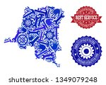 best service collage of blue... | Shutterstock .eps vector #1349079248