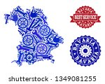 best service collage of blue... | Shutterstock .eps vector #1349081255