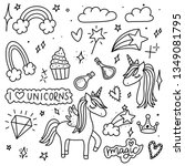unicorn and magic doodles. cute ... | Shutterstock .eps vector #1349081795