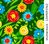 seamless pattern with summer... | Shutterstock .eps vector #1349091962