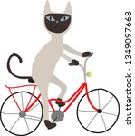 siamese cat on a red bicycle ... | Shutterstock .eps vector #1349097668