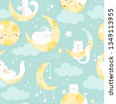 Stock vector seamless mint vector pattern cute white cat sleeping on a moon 1349113955