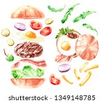 hand drawn watercolor fast food ... | Shutterstock . vector #1349148785