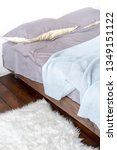 unmade bed with grey linen and... | Shutterstock . vector #1349151122