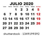 july month in a year 2020 wall... | Shutterstock .eps vector #1349199392