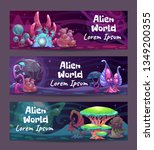 horizontal fantasy banners with ... | Shutterstock .eps vector #1349200355