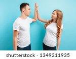 portrait of friendly young men... | Shutterstock . vector #1349211935