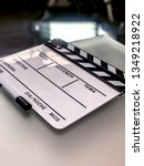 white blank clapperboard on set | Shutterstock . vector #1349218922