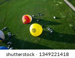 process of inflating large air... | Shutterstock . vector #1349221418