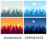 set of city skyline vector... | Shutterstock .eps vector #1349261615