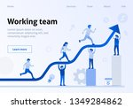 workflow flat banner with... | Shutterstock .eps vector #1349284862