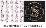 vector set monogram for... | Shutterstock .eps vector #1349305538