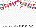 colorful confetti and ribbon... | Shutterstock .eps vector #1349331365