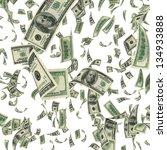 Flying Dollar Bills On White...