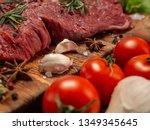 fresh beef  vegetables and... | Shutterstock . vector #1349345645