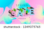 spring sale banner with pastel... | Shutterstock .eps vector #1349375765