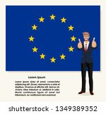 happy man shows gesture cool on ... | Shutterstock .eps vector #1349389352