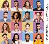 set of millennials emotional...   Shutterstock . vector #1349442278