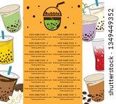 bubble tea menu graphic template   Shutterstock .eps vector #1349449352