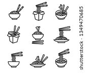 noodle set. collection icon... | Shutterstock .eps vector #1349470685