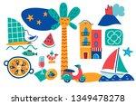 set of barcelona hand drawn...   Shutterstock .eps vector #1349478278