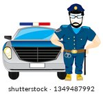 cartoon police in form beside... | Shutterstock .eps vector #1349487992