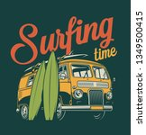 vintage colorful surfing label... | Shutterstock .eps vector #1349500415