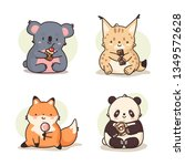 animal set kawaii stickers with ... | Shutterstock .eps vector #1349572628