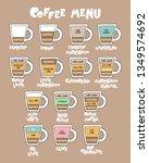 coffee menu. coffee cup.... | Shutterstock .eps vector #1349574692