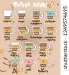 coffee menu. coffee cup.... | Shutterstock .eps vector #1349574695
