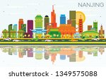 nanjing china city skyline with ... | Shutterstock . vector #1349575088