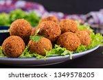 falafel  hummus and pita.... | Shutterstock . vector #1349578205
