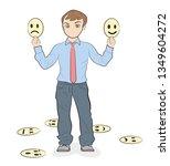 man holds smiles. changeable... | Shutterstock .eps vector #1349604272