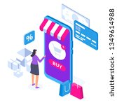 online shopping concept with... | Shutterstock .eps vector #1349614988
