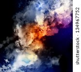 cosmic clouds of mist on bright ... | Shutterstock . vector #134967752