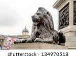 Lion Statue At Trafalgar Squar...