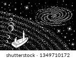 two souls in a boat move... | Shutterstock .eps vector #1349710172