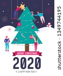 christmas card in flat style.... | Shutterstock .eps vector #1349744195